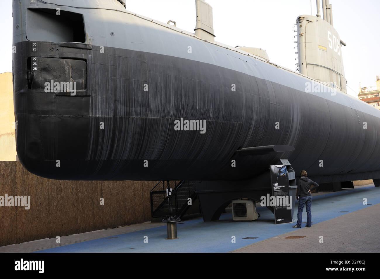 Italia. Milán. El Museo Nacional de Ciencia y Tecnología Leonardo Da Vinci. Enrico Toti submarino. Utilizada Imagen De Stock