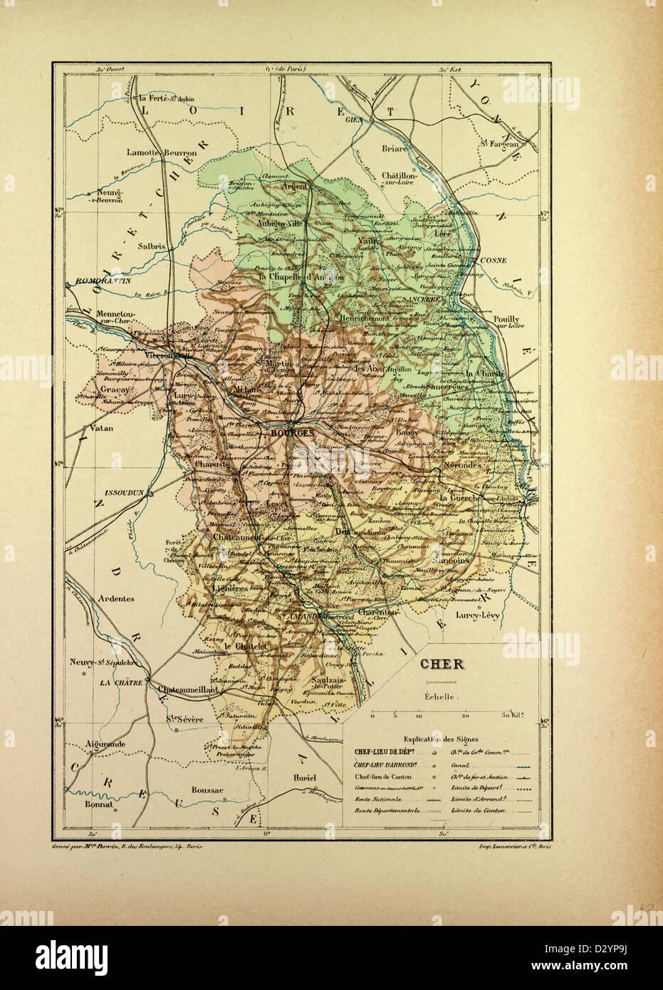 Mapa de Francia Cher Imagen De Stock