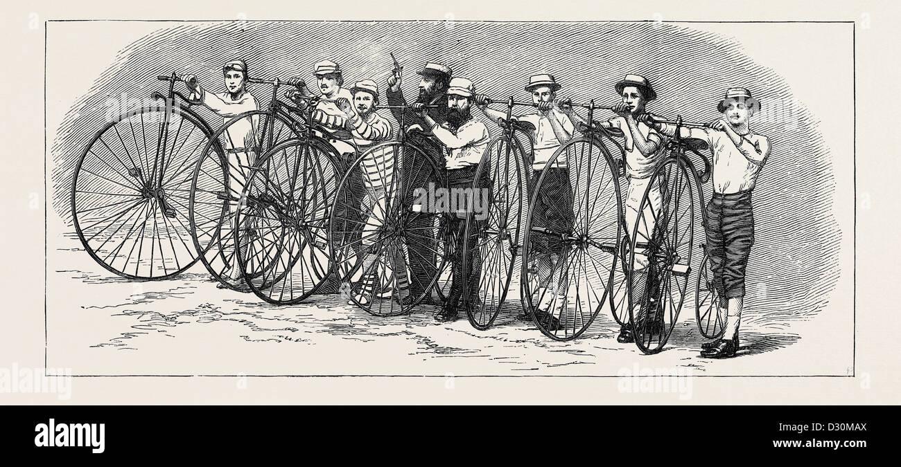 Carrera de bicicletas de baño a Londres, el inicio, el 15 de agosto, 1874 Imagen De Stock