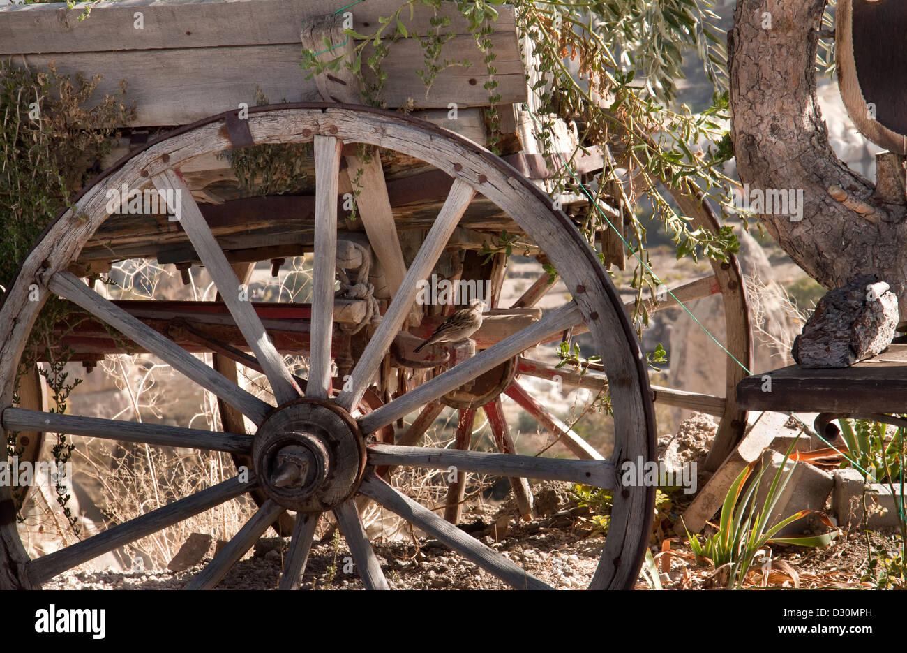 Una vieja rueda de carro. Imagen De Stock