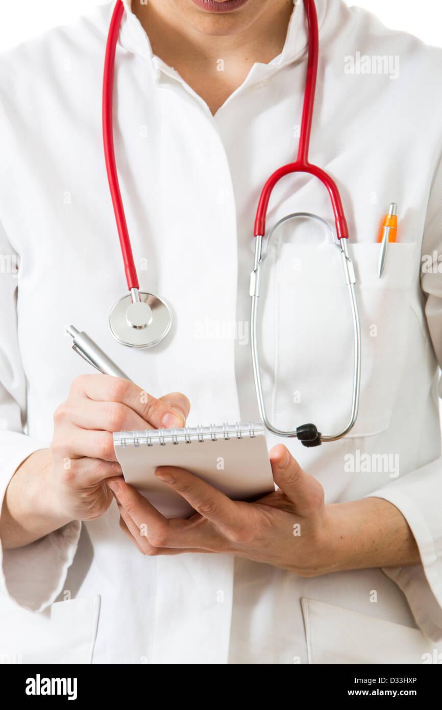 Imagen simbólica medicina. Doctor es escribir notas. Imagen De Stock