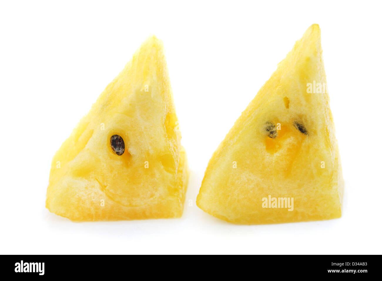 Trozo de sandía amarilla Foto de stock