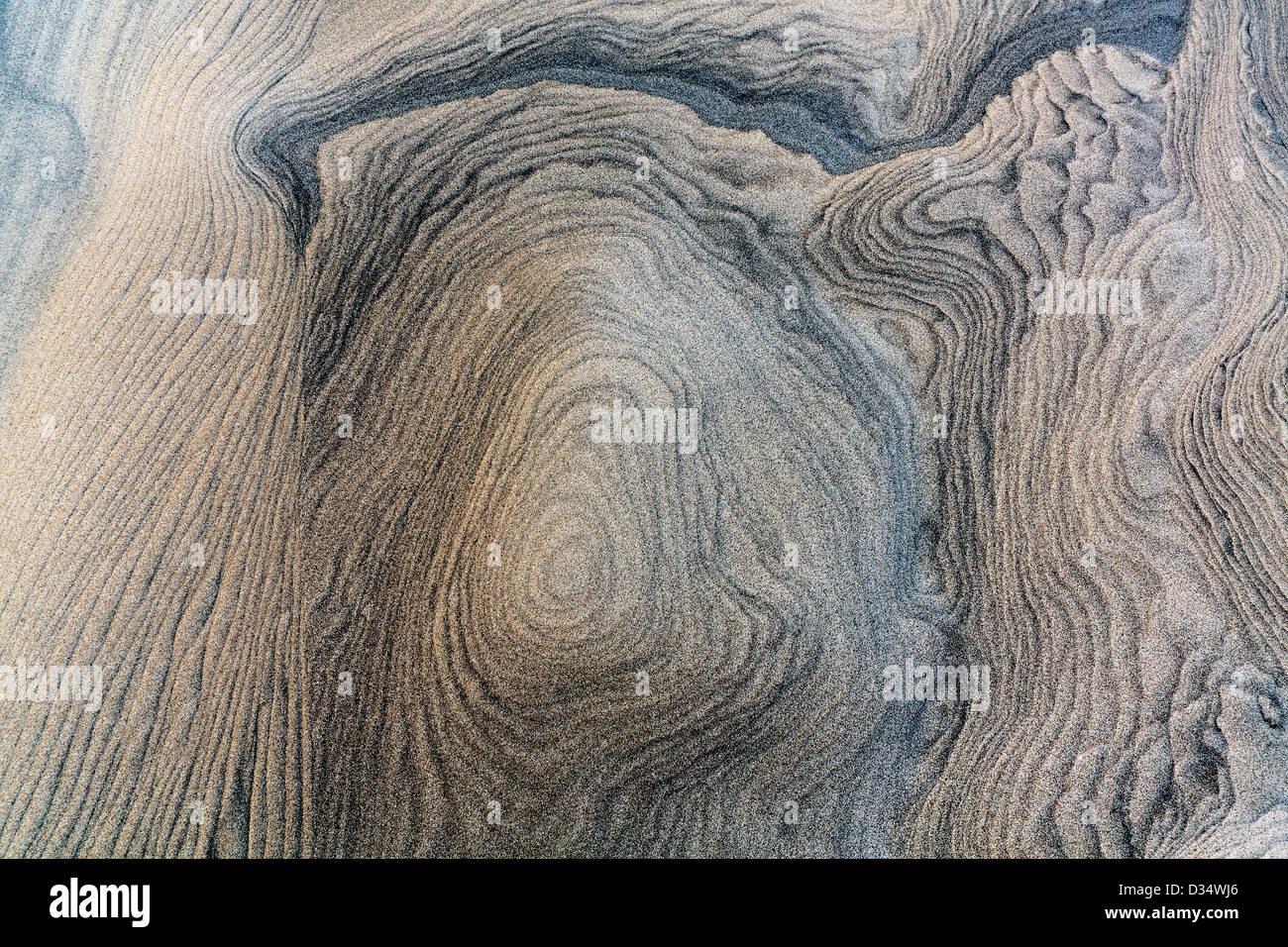 Viento patrones de dunas de arena esculpida en Mangawhai jefes Imagen De Stock