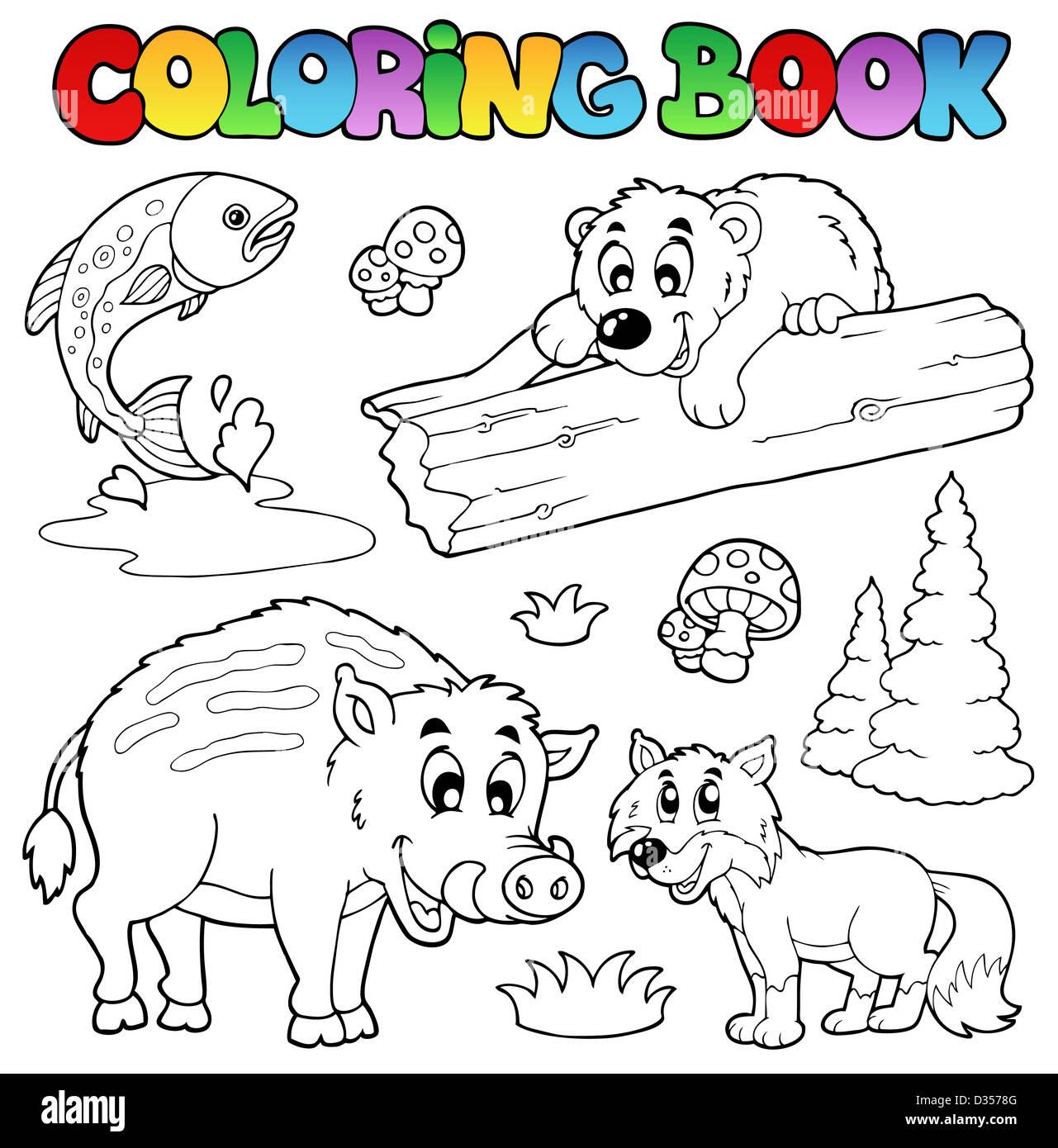 Libro Para Colorear Con Bosques Animales Ilustración Temática Foto