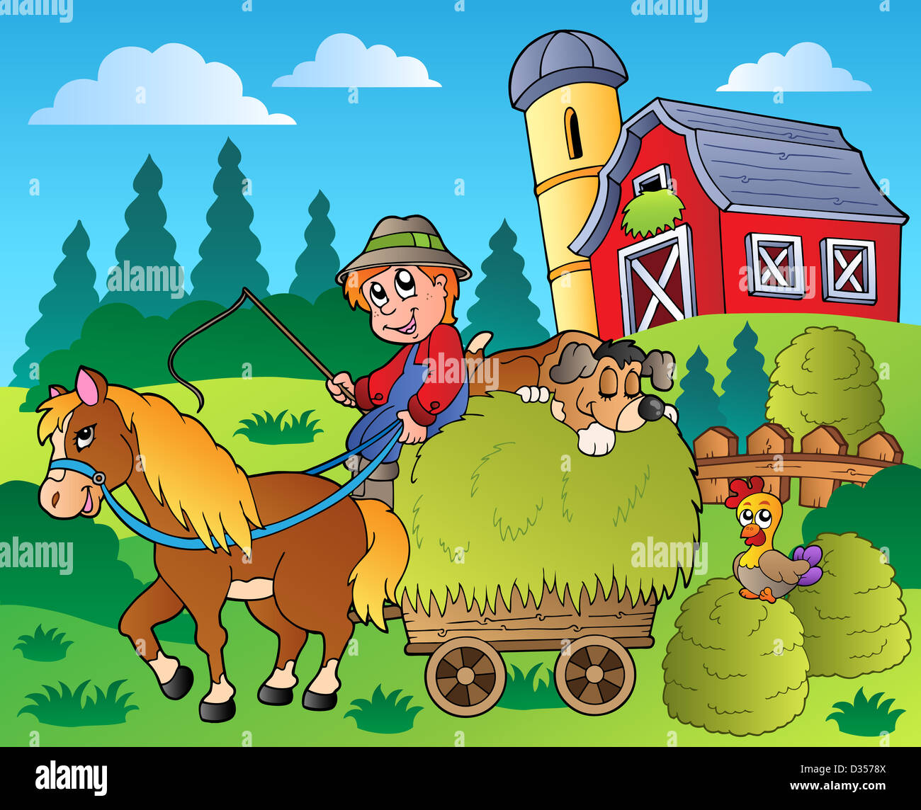 Farm Animals Country Scene Cartoon Imágenes De Stock & Farm Animals ...