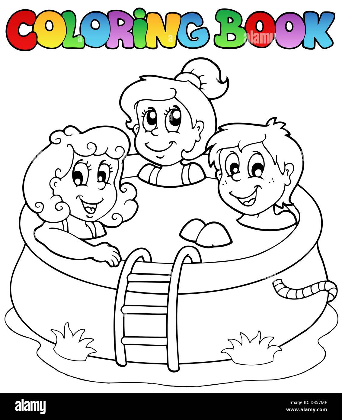Libro Para Colorear Con Los Niños En La Piscina