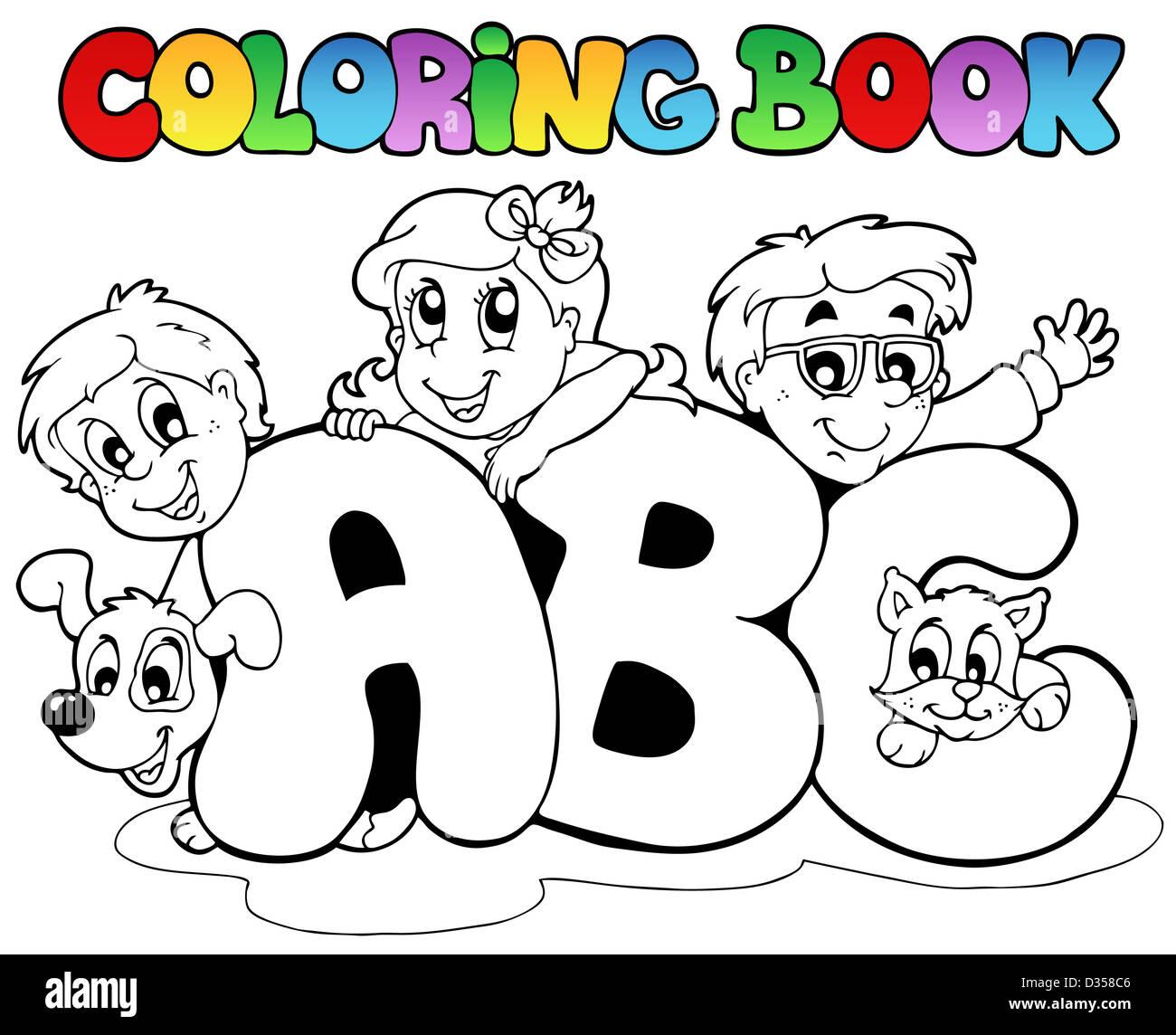 Libro para colorear la escuela ABC letras - Ilustración temática ...