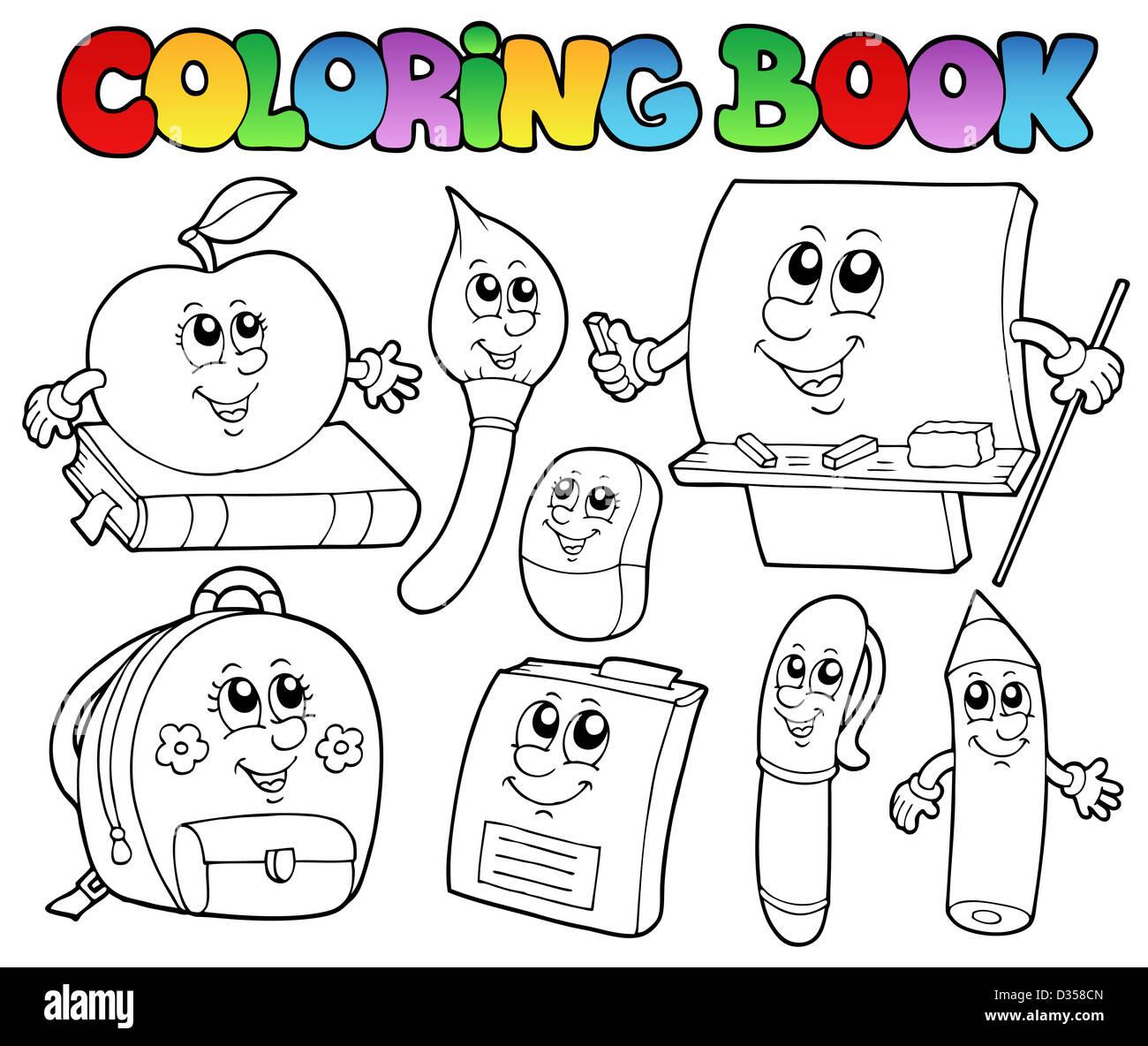 Libro Para Colorear Dibujos Animados Escuela 5 Ilustración