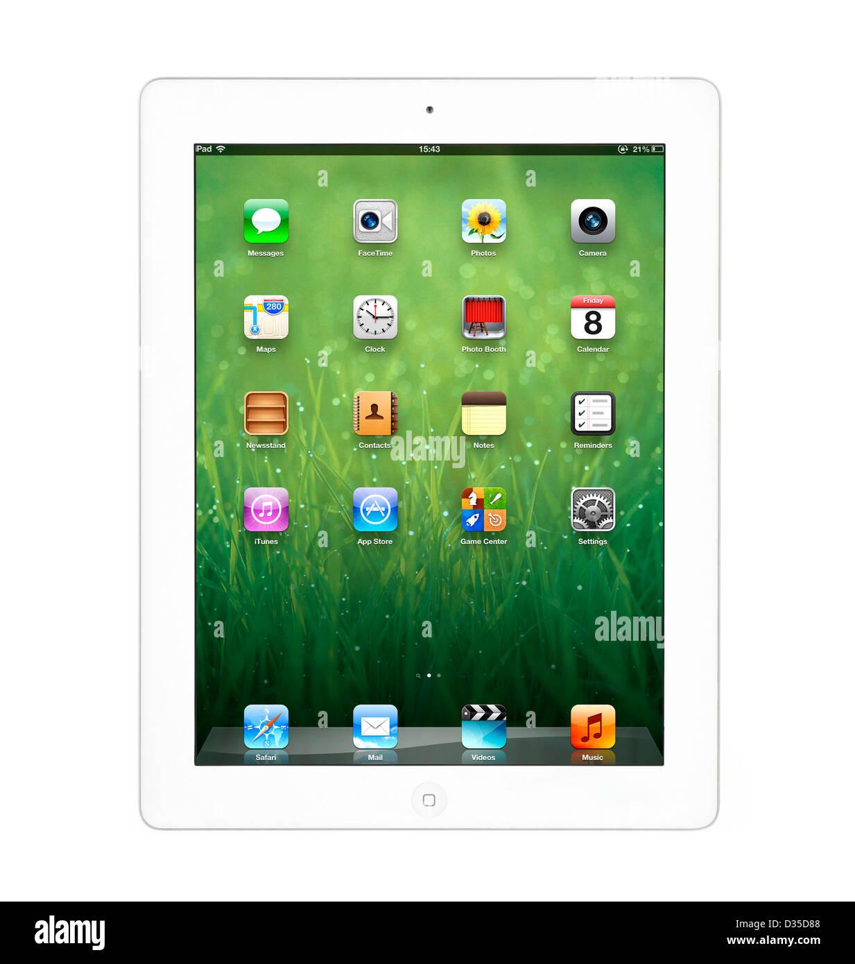 Pantalla de inicio en un blanco de cuarta generación, iPad Apple ...