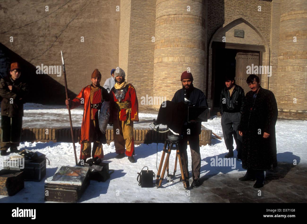 El rodaje de una película en Khiva, Uzbekistán Imagen De Stock