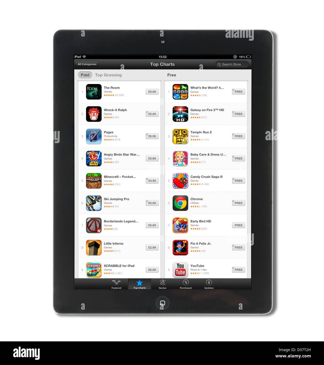Gráfico de las aplicaciones más populares en el App Store de Apple vistos en una 4ª generación Imagen De Stock