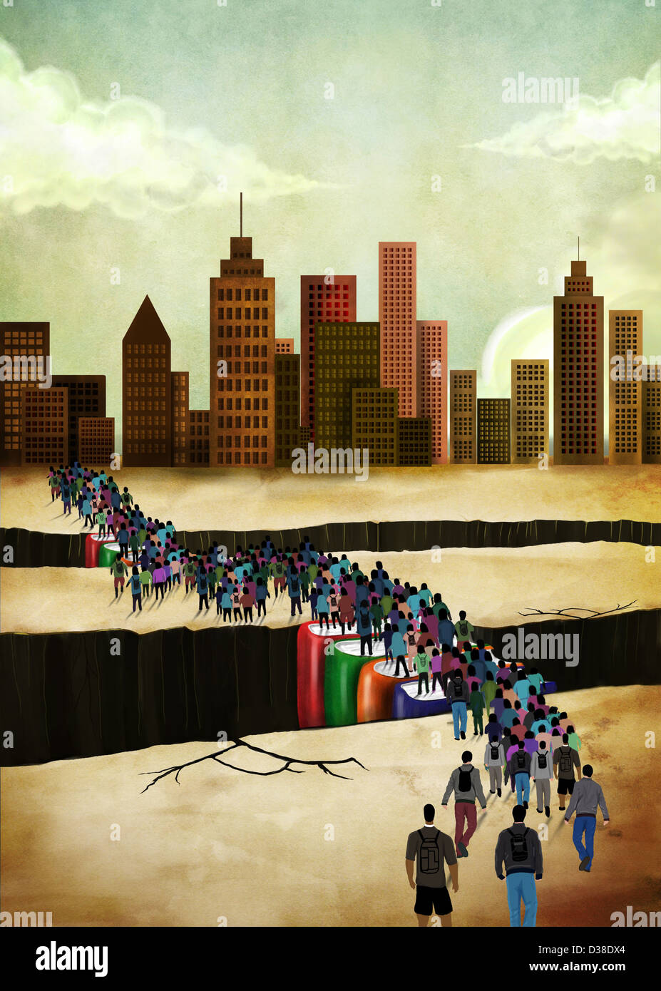 Imagen ilustrativa de personas brecha puente Imagen De Stock