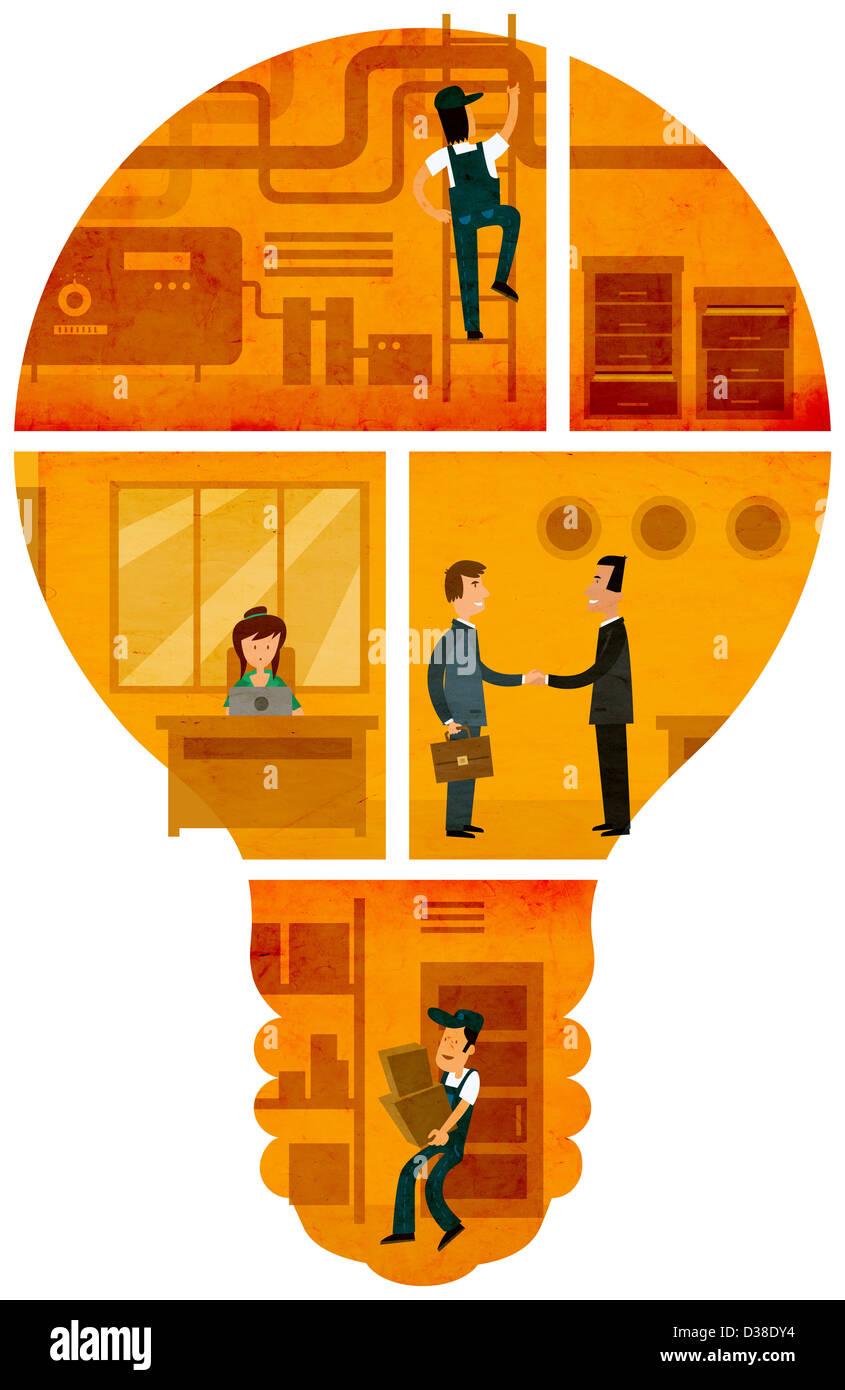 Imagen ilustrativa de empresarios que representa el mecanismo y ideas sobre fondo blanco. Imagen De Stock