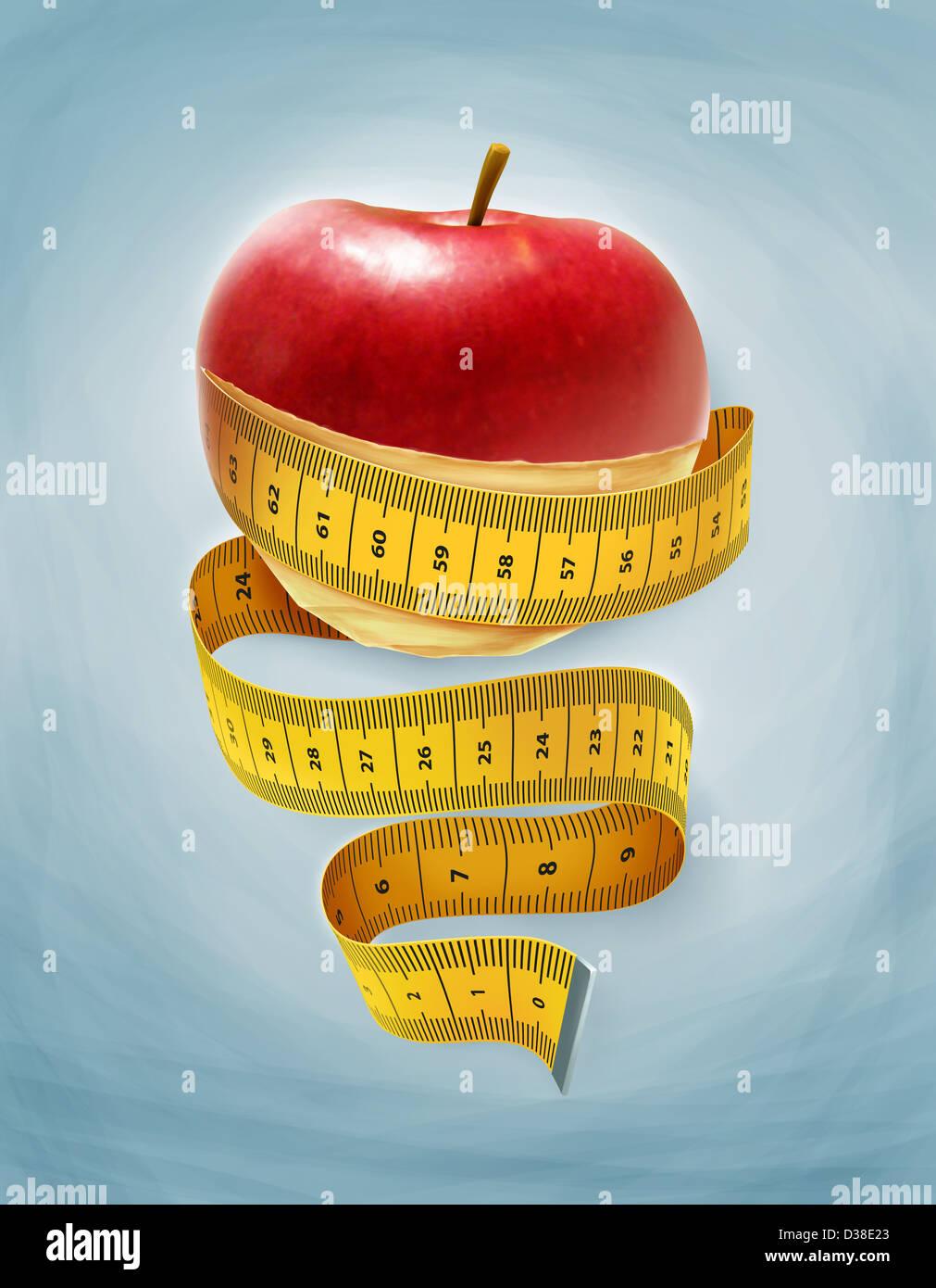Imagen ilustrativa de una manzana envuelta con cinta métrica representando a dieta Foto de stock