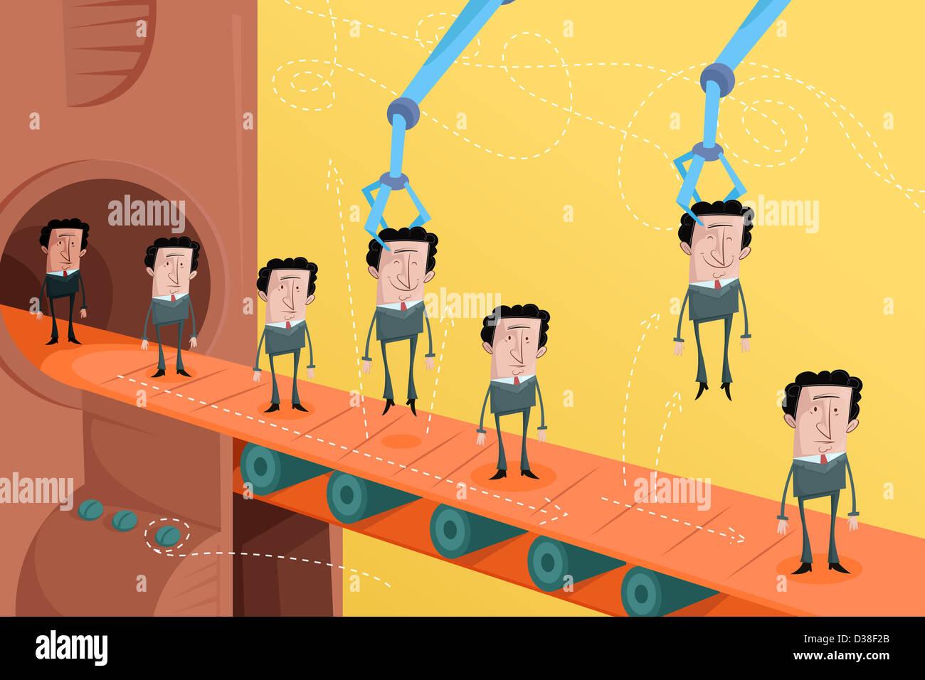 Imagen ilustrativa de los candidatos sobre la cinta transportadora que representa la selección de empleados Imagen De Stock