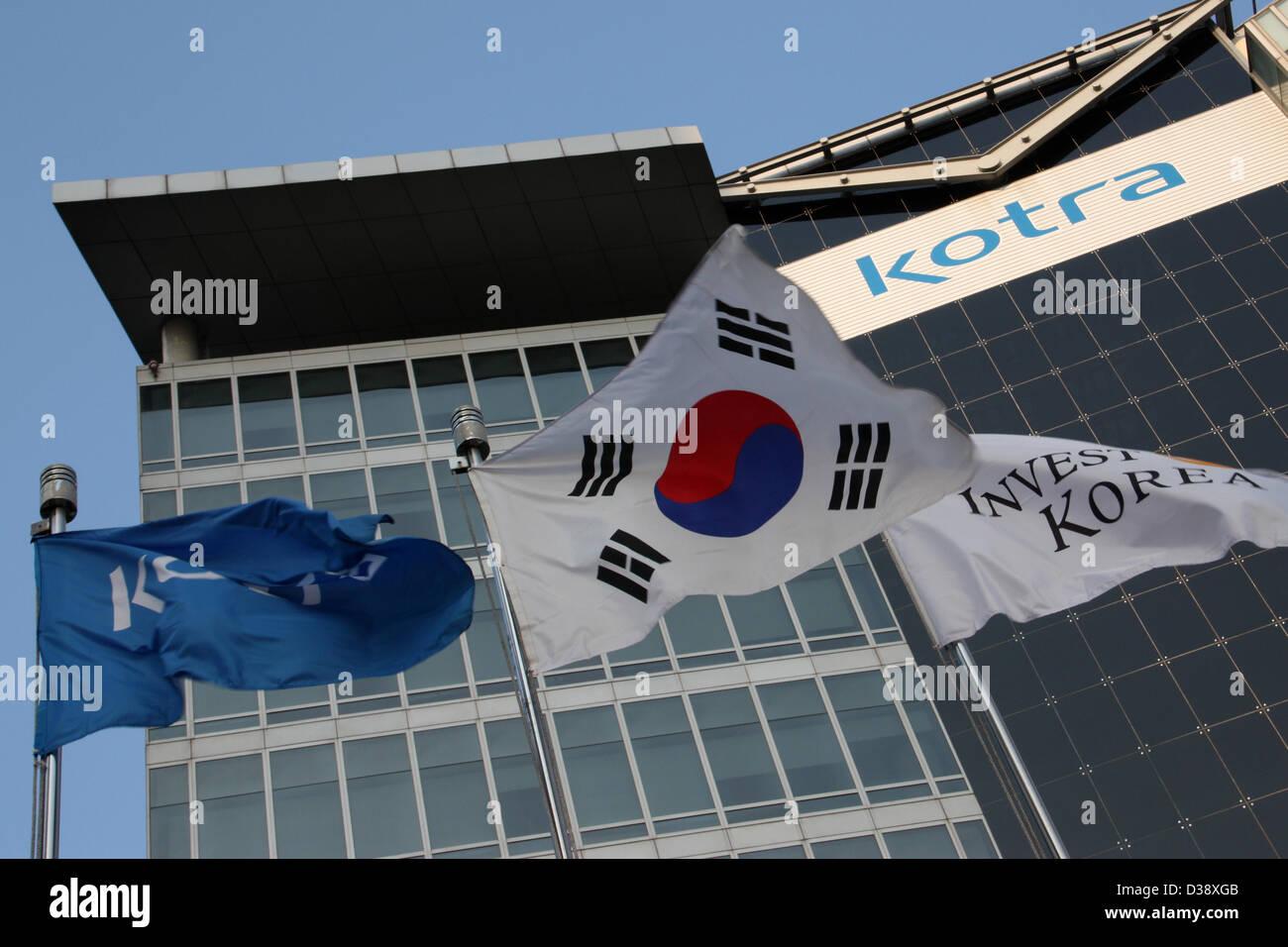 Corea del Sur: La KOTRA (Organismo de Promoción de Inversiones de Comercio de Corea) sede, Seúl Foto de stock