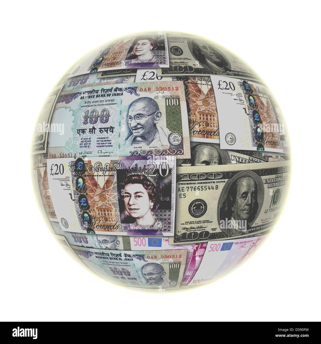 Globo con moneda mundial Imagen De Stock