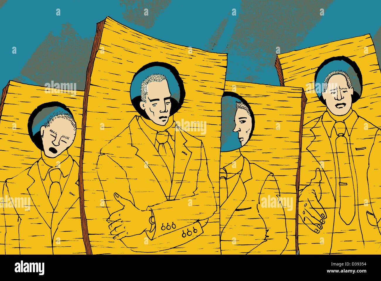 Cuatro empresarios con identidad similares Imagen De Stock