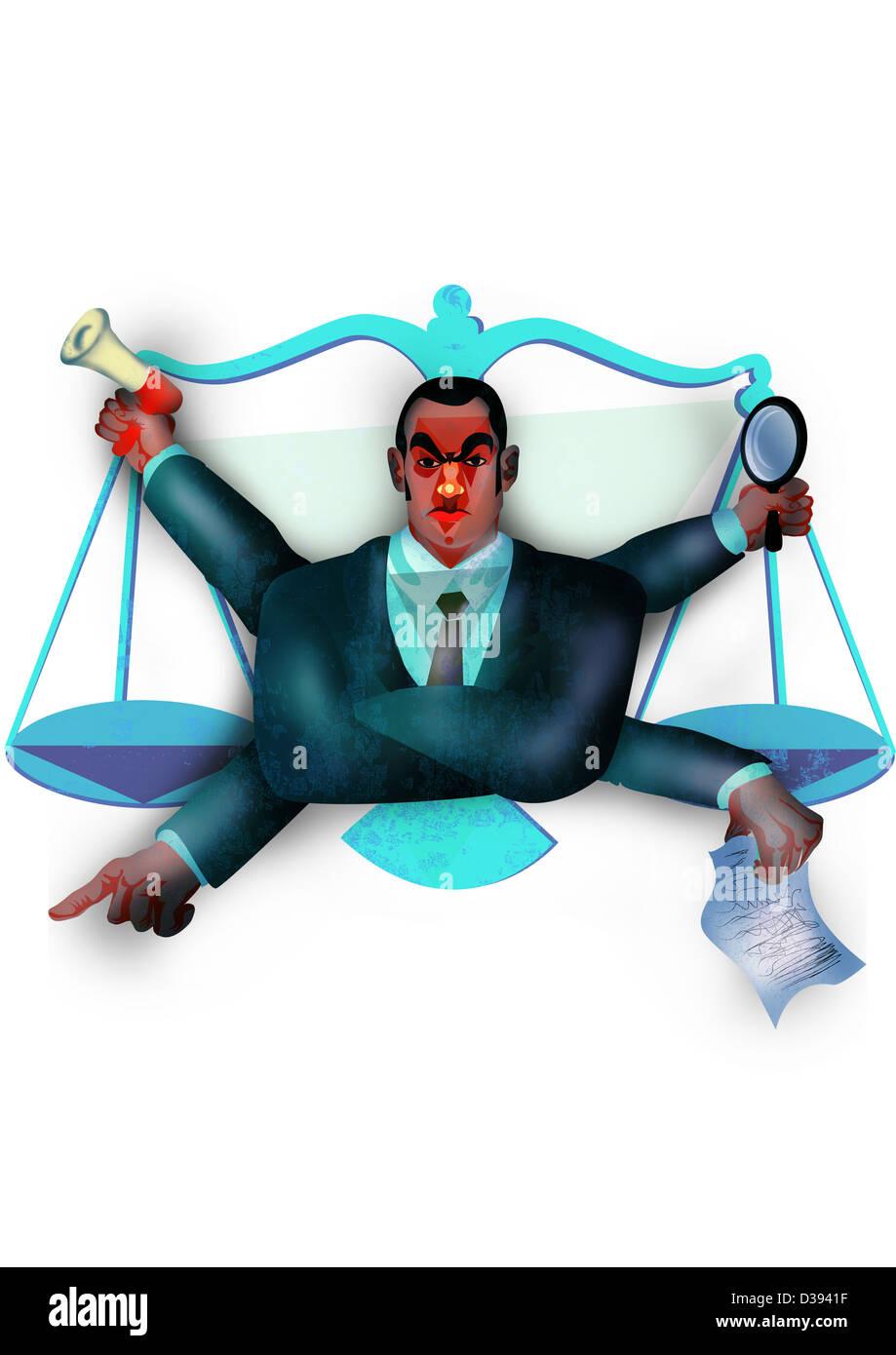 Representación de funcionario con escala de justicia Imagen De Stock