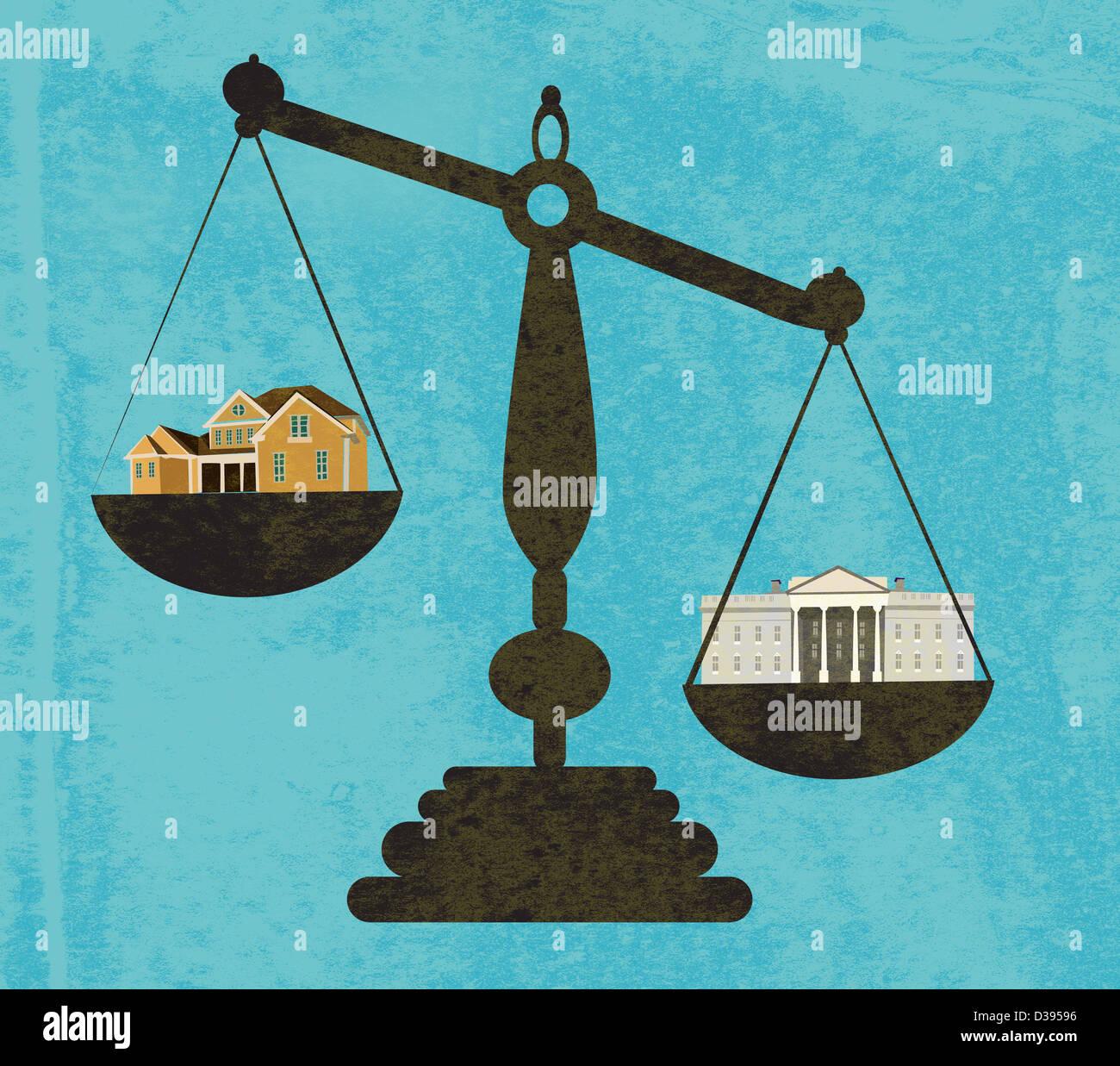 Ilustración de banco y casa en báscula. Imagen De Stock