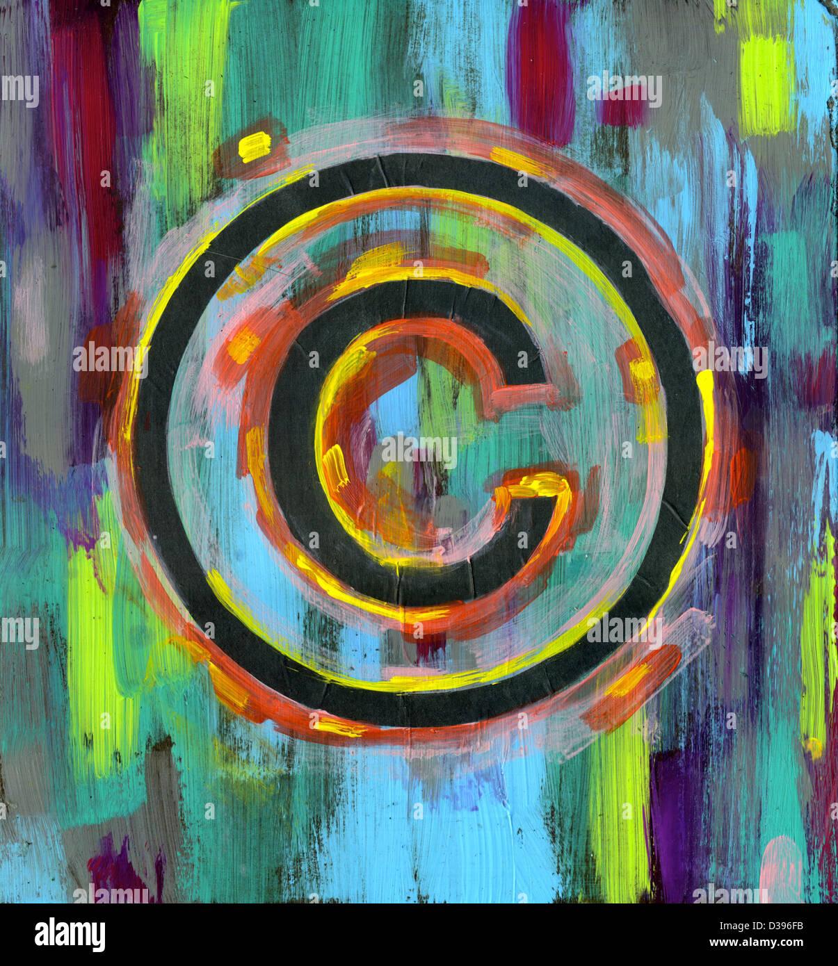 Imagen ilustrativa del símbolo de copyright sobre fondo multicolor Foto de stock