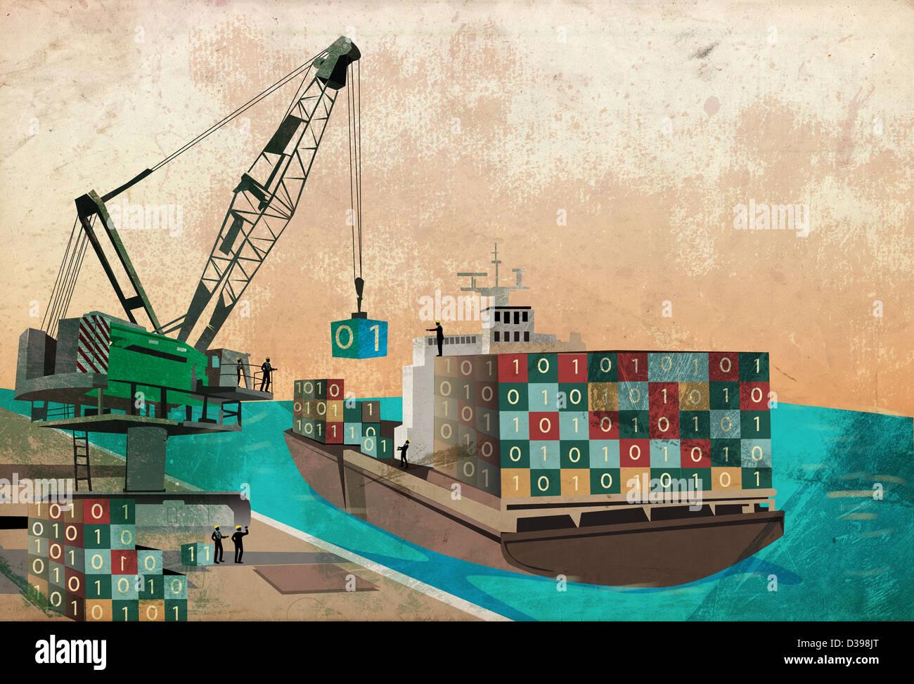 La industria naviera con la carga de contenedores de código binario en el barco que representa el concepto Imagen De Stock
