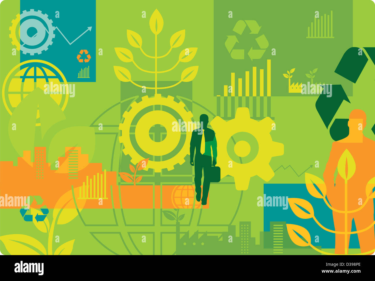 Imagen ilustrativa de go Green concepto Imagen De Stock