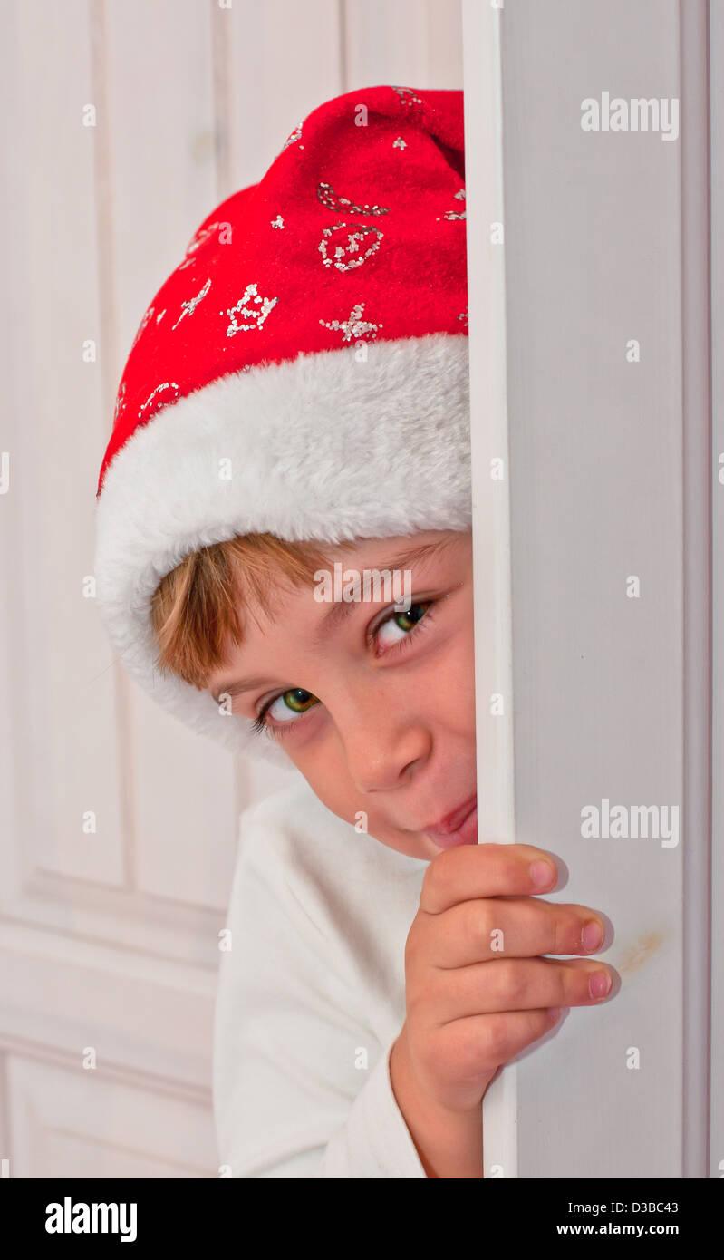 Antecedentes, hermoso, de raza caucásica, fiesta, alegre, infantil, navidad, curiosidad, lindo, decoración, Imagen De Stock