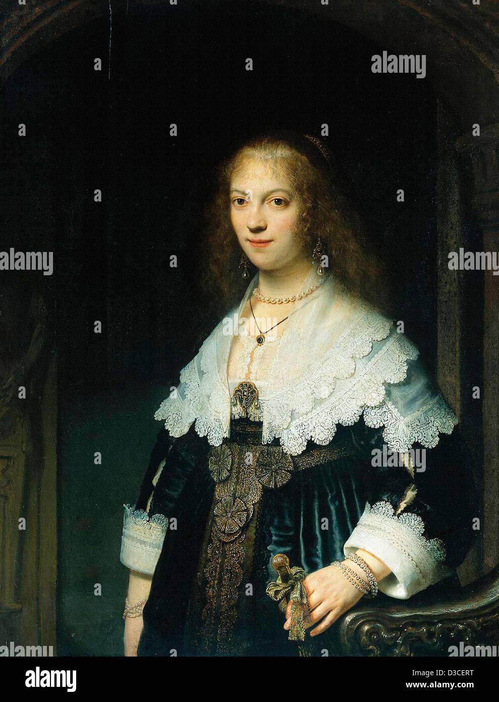 Rembrandt van Rijn, Retrato de María viaje. 1639 Óleo sobre panel. El barroco. Rijksmuseum Amsterdam. Imagen De Stock