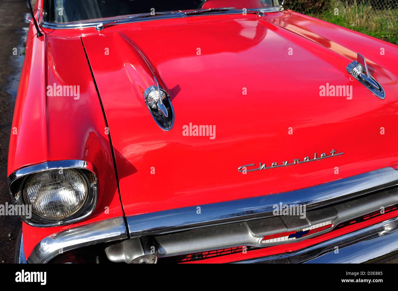 Classic 1957 Chevrolet Bel Air Sedan, Stanwell Moor, Borough of Spelthorne, Surrey, Inglaterra, Reino Unido Imagen De Stock