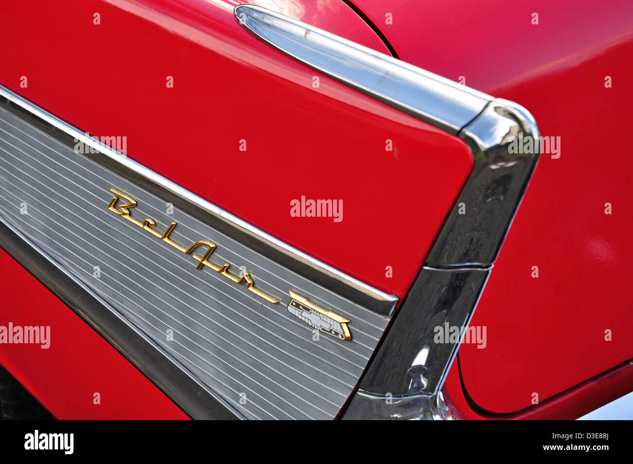 Detalle del ala Classic 1957 Chevrolet Bel Air Sedan, Stanwell Moor, Borough of Spelthorne, Surrey, Inglaterra, Imagen De Stock