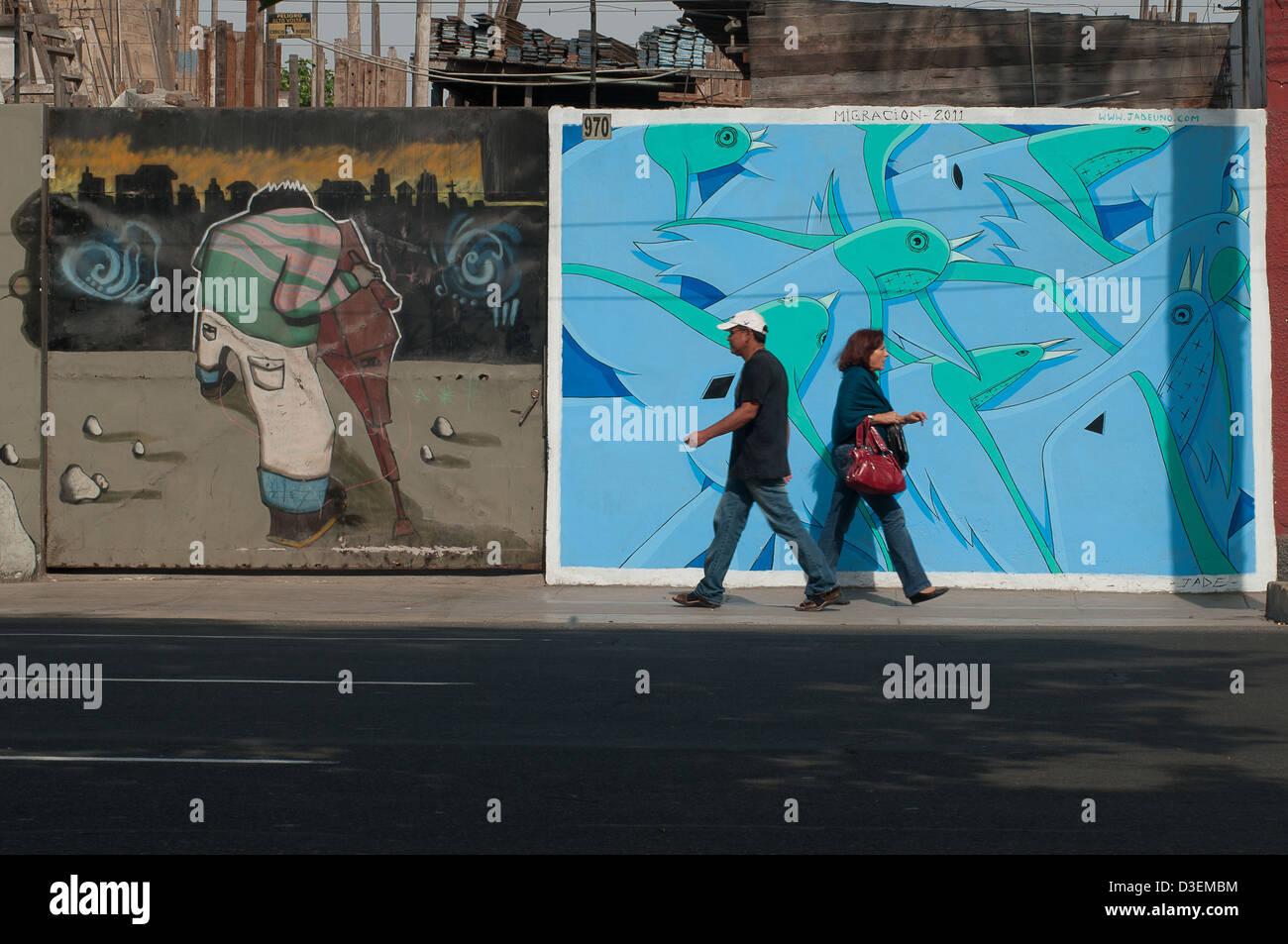 Peru Lima Barranco El Arte Mural De Barranco Es Un Signo De Los