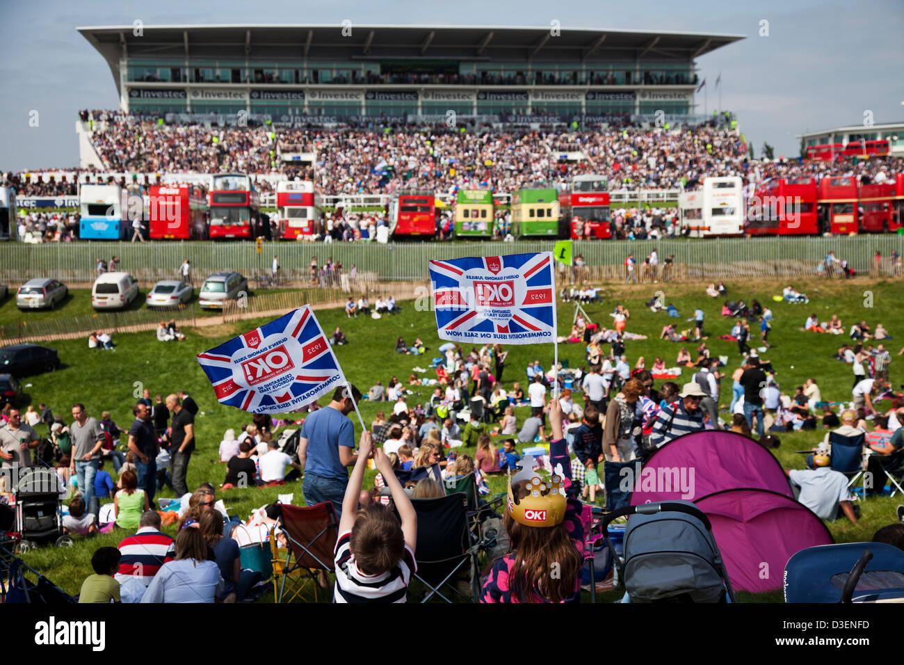 Vista de la tribuna en el Hipódromo de Epsom Downs Imagen De Stock