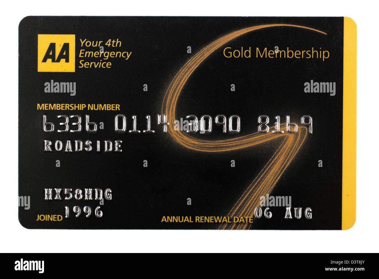 Desglose de carretera AA membresía gold card con Editar registro y número de membresía. Sólo Imagen De Stock
