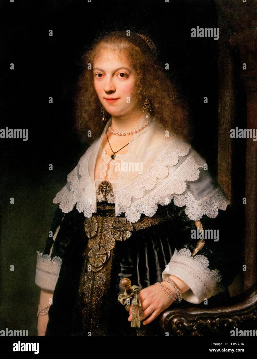 Retrato de Rembrandt Harmensz Maria viaje. van Rijn 1639 Holanda Holandesa Imagen De Stock
