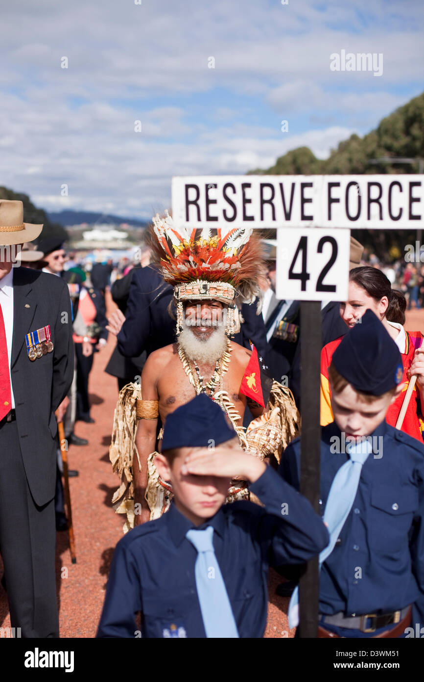 Un Fuzzy Wuzzy Ángel en el Día Anzac conmemoraciones. Canberra, Australian Capital Territory (ACT), Australia Imagen De Stock