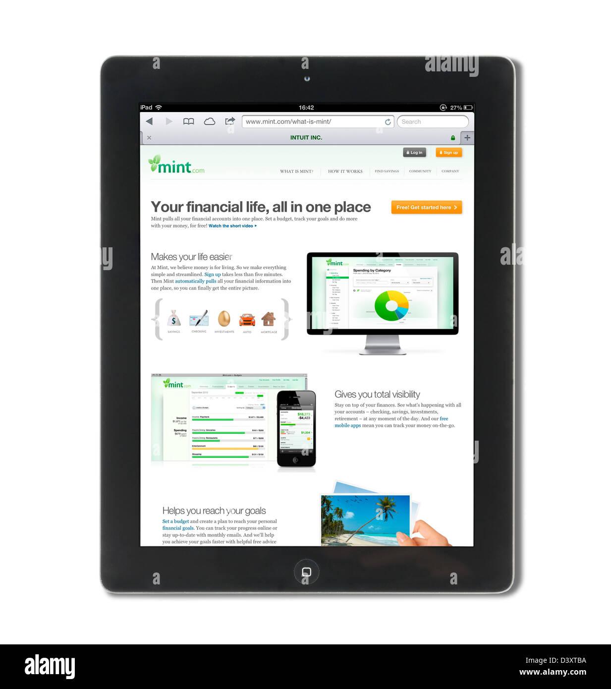 El mint.com gestión financiera basada en web service, EE.UU. Imagen De Stock