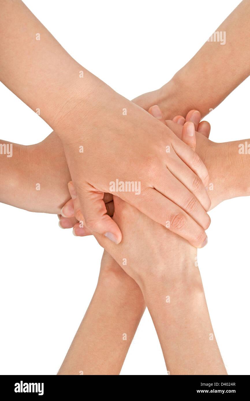 Manos femeninas se unieron, aislado en blanco. Imagen De Stock