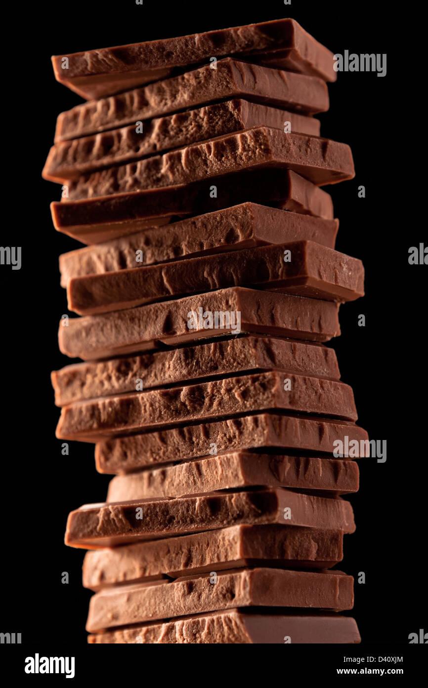 Trozos de chocolate de leche Imagen De Stock