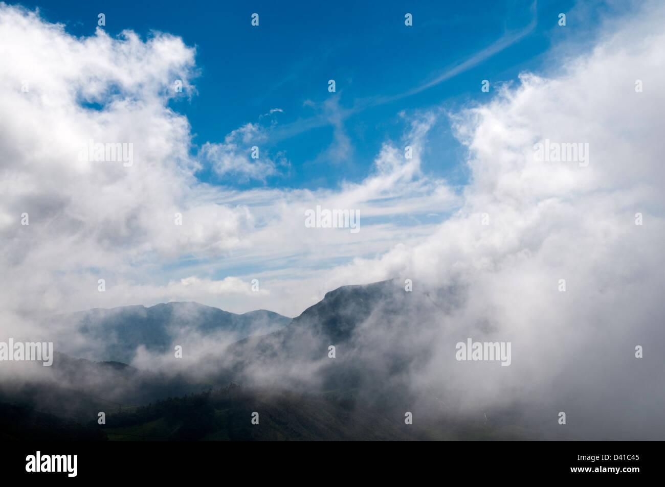 La niebla en el amanecer de rodadura en colinas en Ghats Occidental Sahyadri Imagen De Stock
