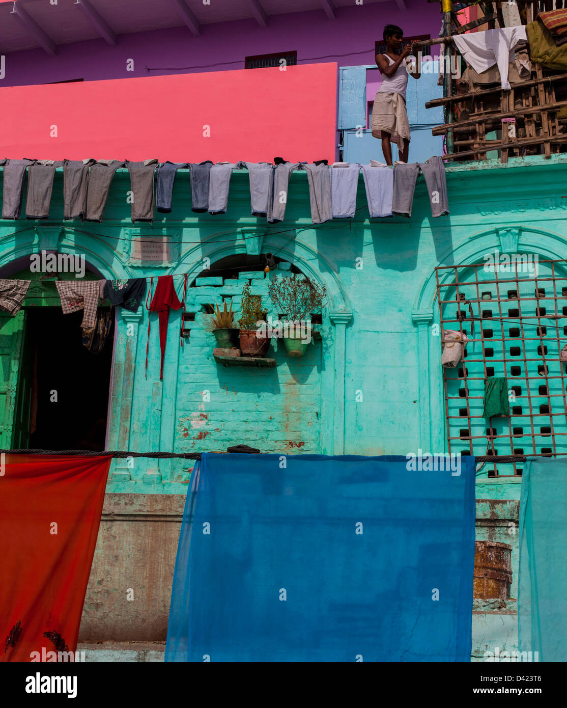 Línea de lavado, Varanasi, India Imagen De Stock