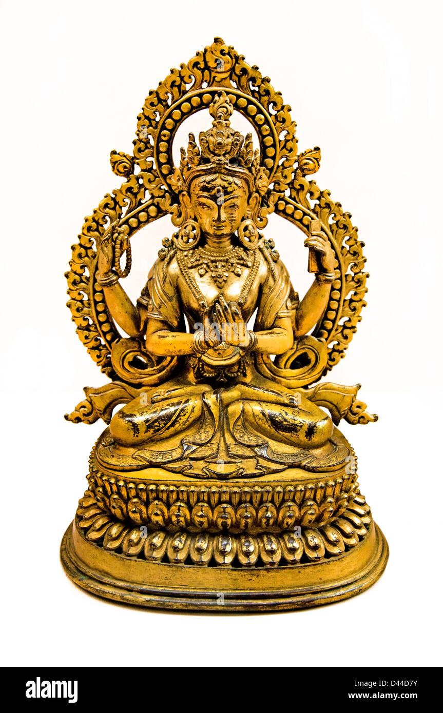 Prajnaparamita diosa madre de los Budas, la perfección de la Sabiduría Nepal Nepal AD del siglo XVIII. Imagen De Stock