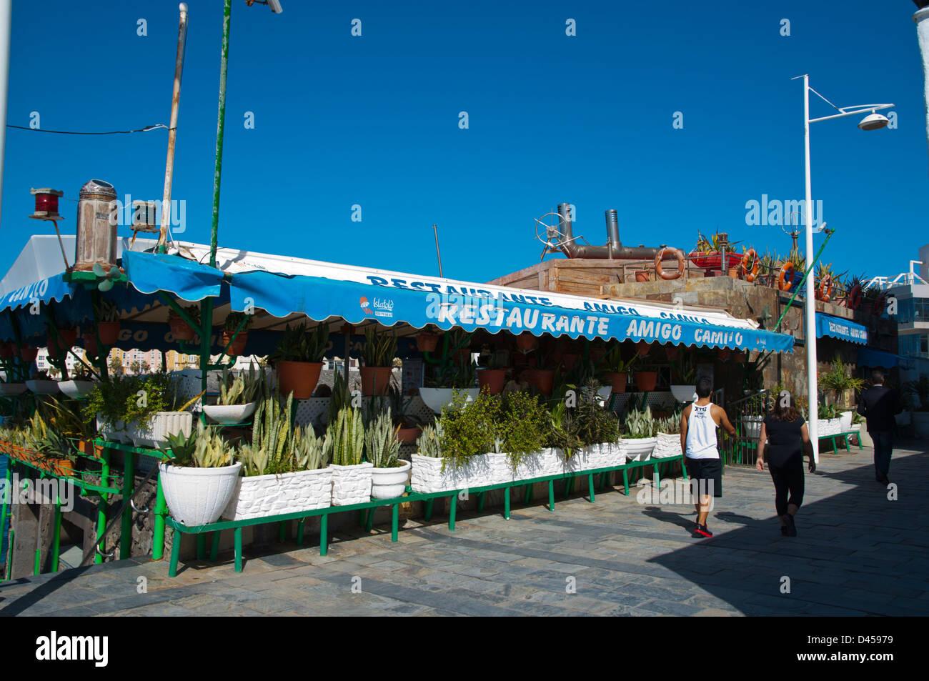 Restaurante Amigo Campo restaurante de mariscos La Puntilla zona playa de la playa de Las Canteras la ciudad de Imagen De Stock