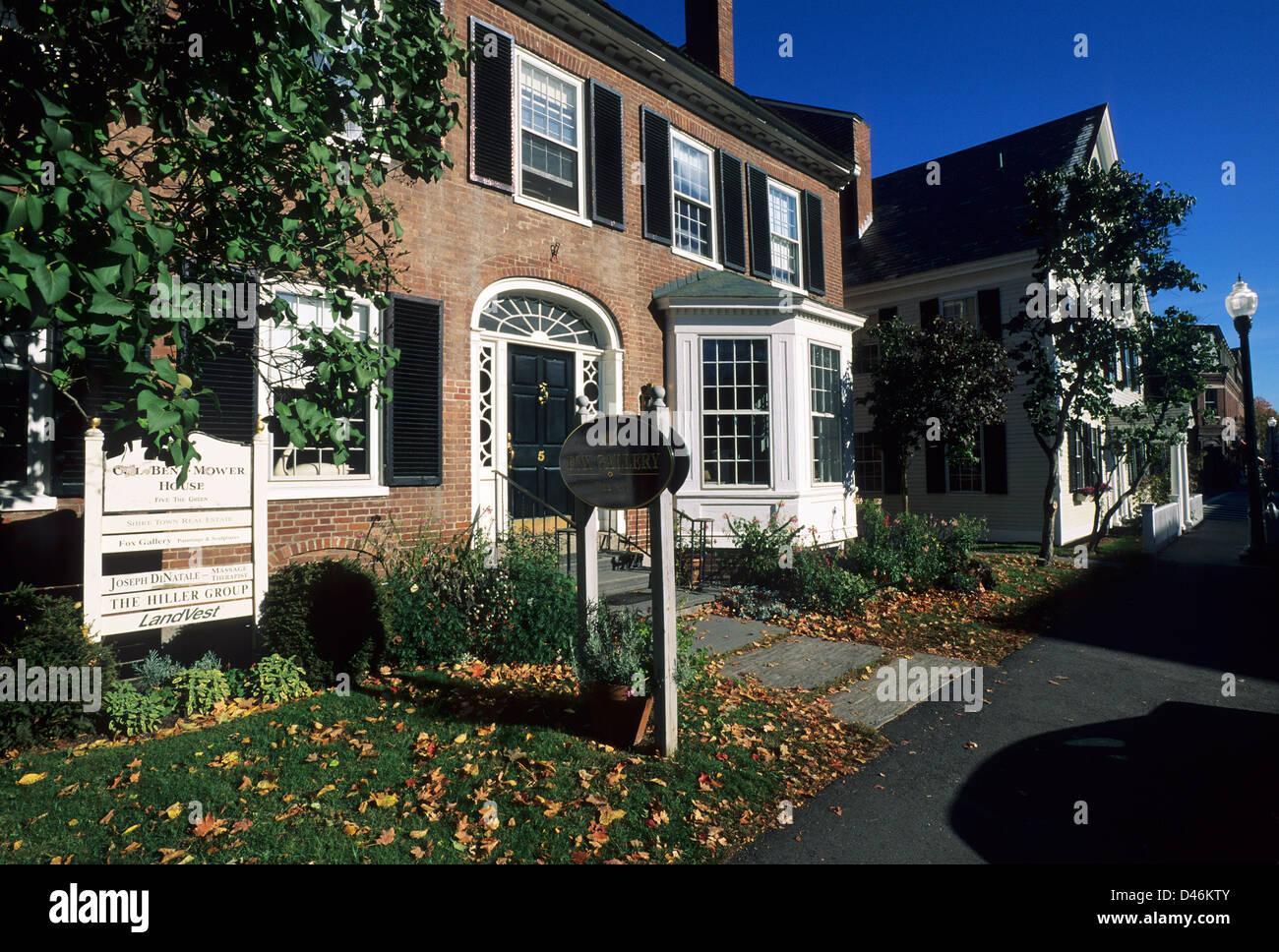 Elk280-1286 Vermont, Woodstock, casas históricas Imagen De Stock