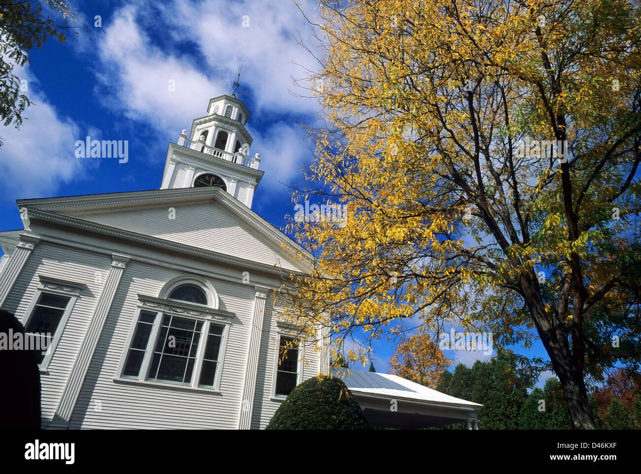 Elk280-1304 Vermont, Woodstock, First Congregational Church, 1808 Imagen De Stock