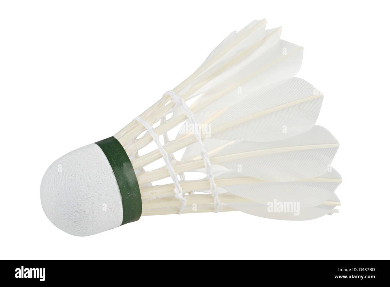 Badminton bola delante de un fondo blanco Imagen De Stock