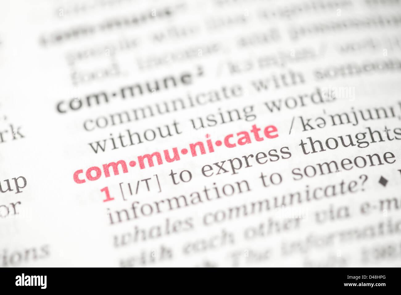 Comunicarse definición Imagen De Stock