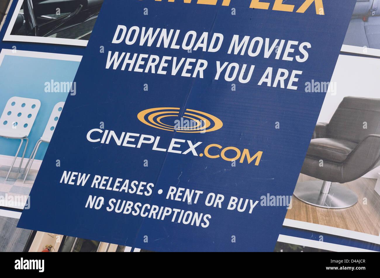 Cineplex Descargar Películas Ad closeup Imagen De Stock