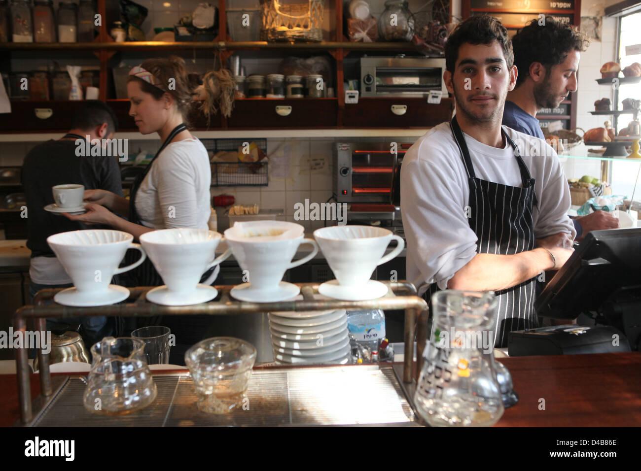 Israel, Tel Aviv, cafetería y restaurante al aire libre Imagen De Stock