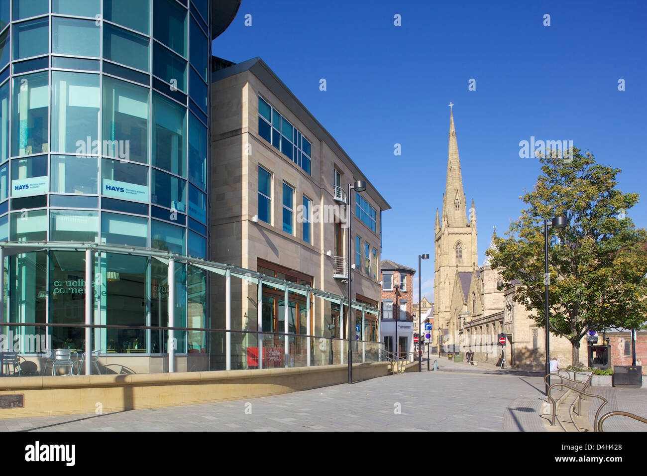 Esquina Crucible, Sheffield, South Yorkshire, Yorkshire, Inglaterra, Reino Unido. Foto de stock